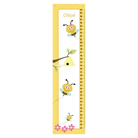 Personalized Bumble Bee Critters Canvas Growth Chart    A growth chart is a great childhood keepsake! This growth chart is perfect for your