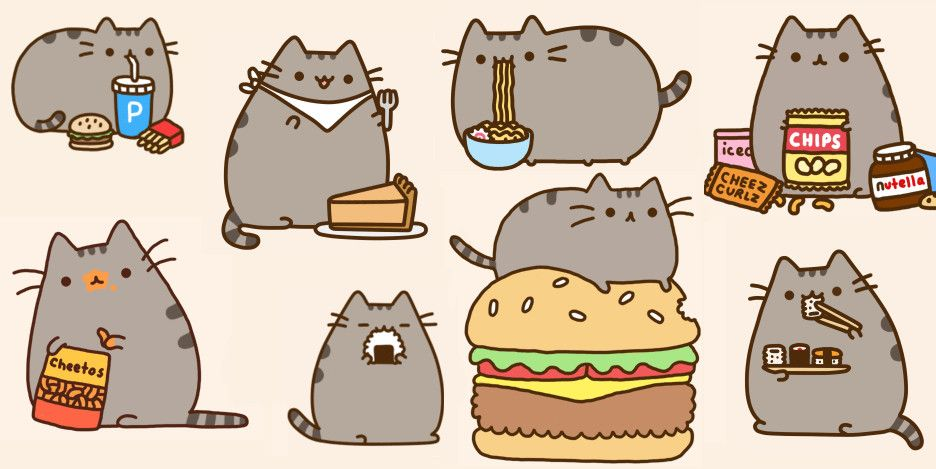 Pusheen I love you more than all the foods. Valentine