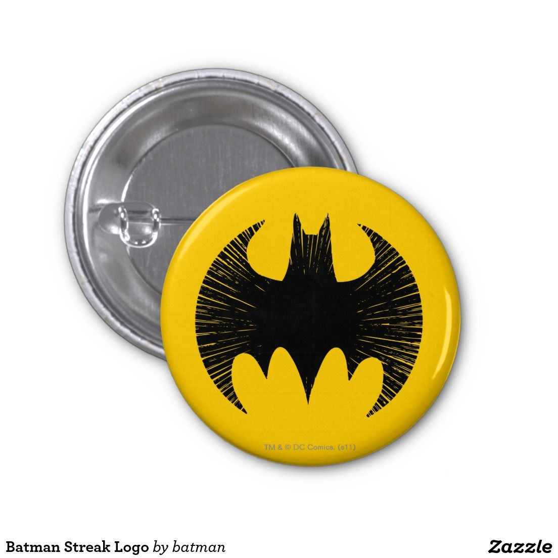 Batman Streak Logo 1 Inch Round Button. Cool Gift Ideas.