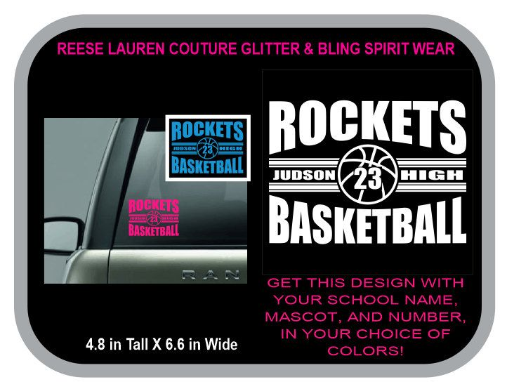 ROCKETS BASKETBALL Decal - Personalize With Your School or Team Name, Your Name, Your Number and CHOICE of Colors for no additional charge by ReeseLaurenCouture on Etsy
