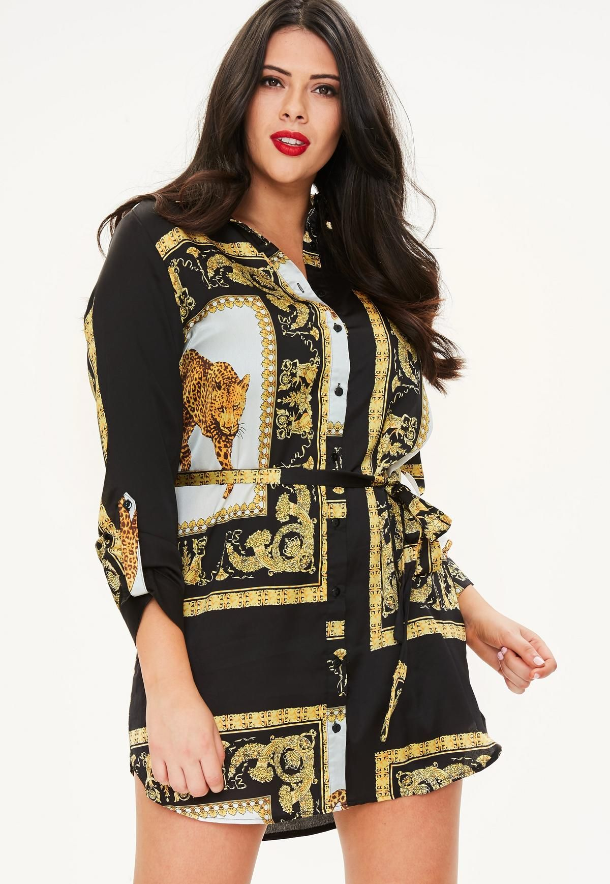 addedcf6618 Curve Black Scarf Print Shirt Dress