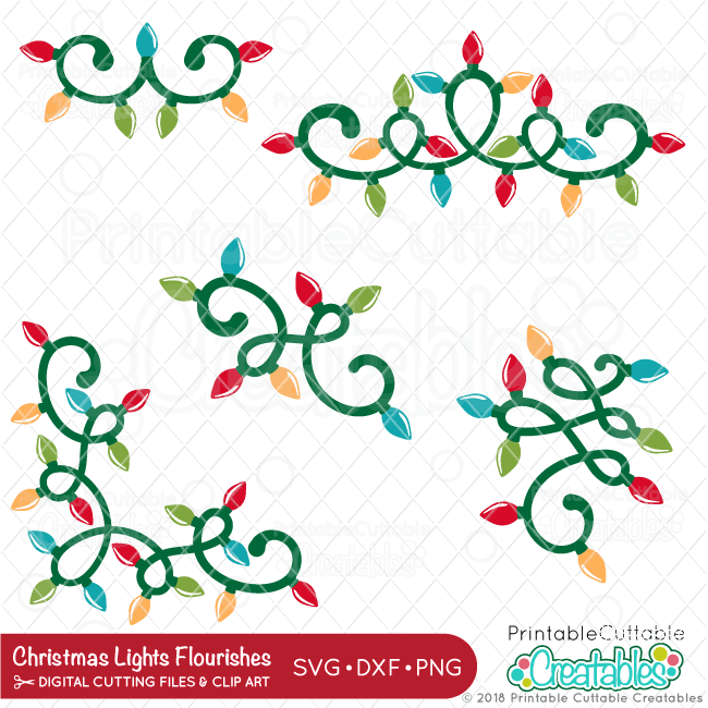 Christmas Lights Flourishes SVG Files Set for Silhouette ...