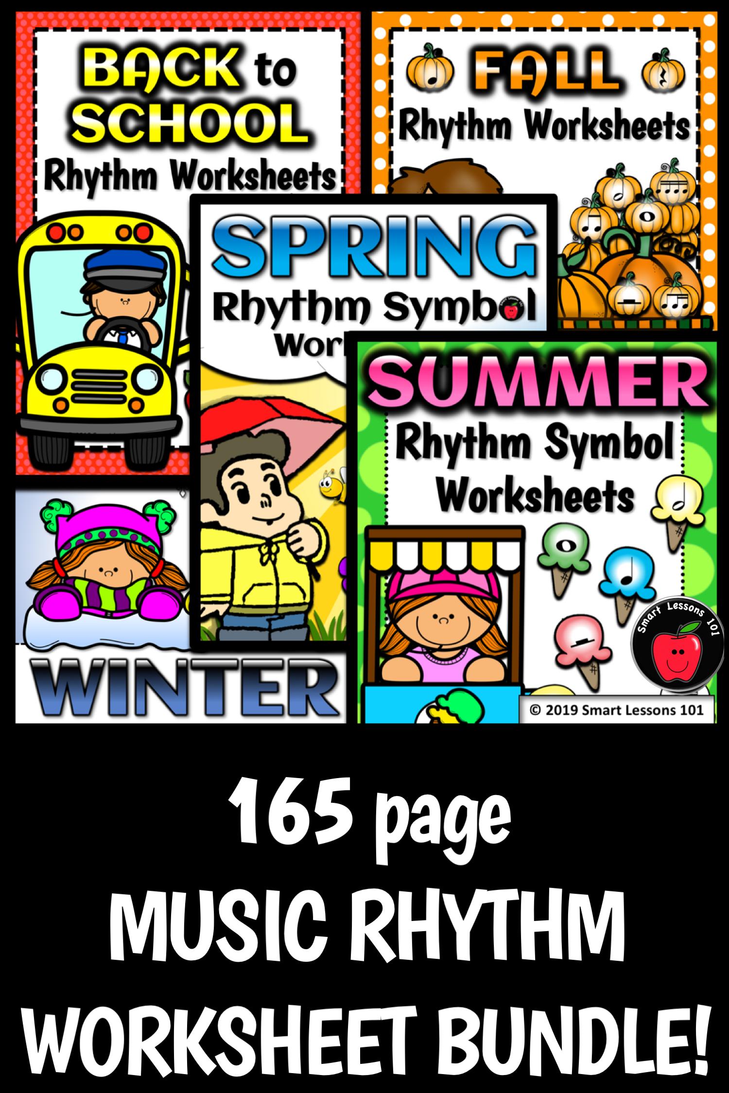 Distance Learning 165 Seasonal Rhythm Worksheets Rhythm