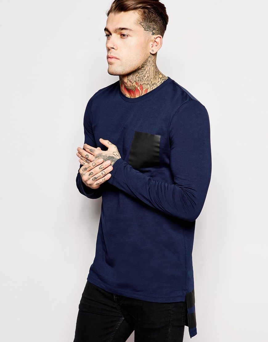 ASOS+Super+Longline+Long+Sleeve+T-Shirt+With+Contrast+Pocket+&+Hem+Stripe
