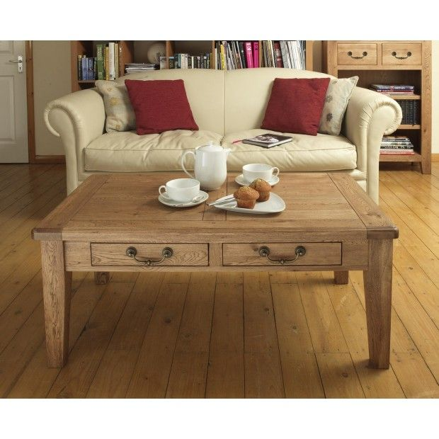 Farmhouse Rustic Oak Coffee Table with Drawers   Cheap ...