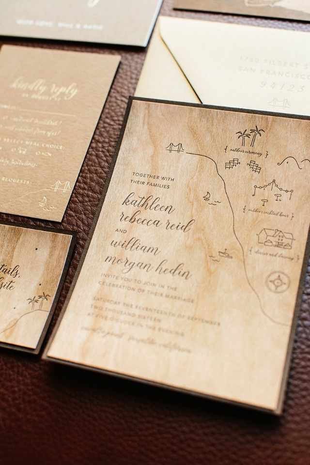 Wooden wedding invites
