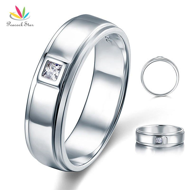 Peacock Star Princess Cut Bezel Setting Men's Solid 925 Sterling Silver Wedding Ring Jewelry CFR8051