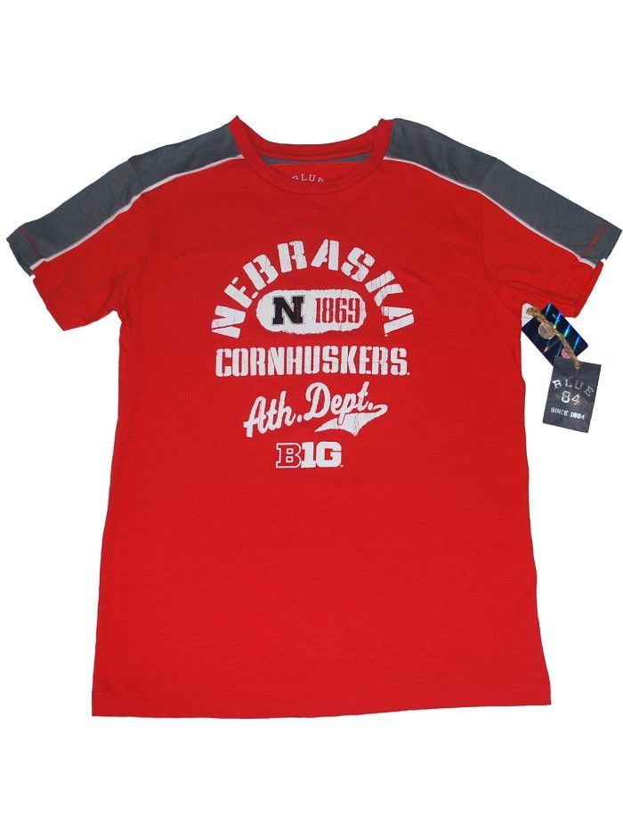 "Nebraska Cornhuskers Blue 84 Red Gray-Sleeve ""Big 10"" Soft Cotton T-Shirt"