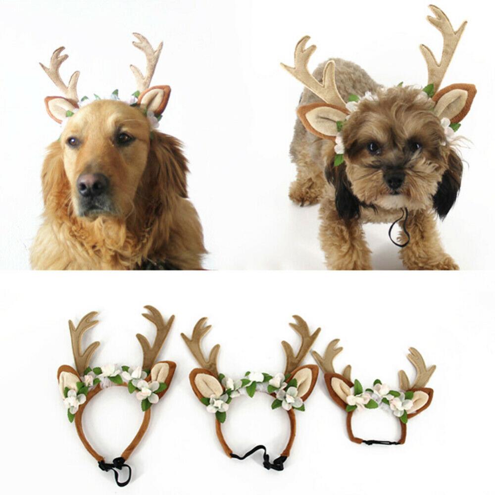 Christmas Pet Dog Reindeer Antlers Flowers Headband Hat Cap Headdress Magic Ebay Dog Reindeer Antlers Reindeer Antlers Reindeer Dog