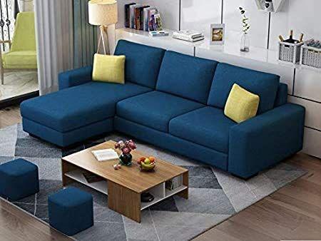Casaliving - Rolando L Shape Modern 4 Seater Fabric Sofa Set for Living Room (Navy Blue)