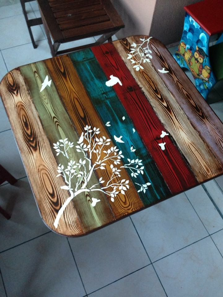 Faux Wood Painted Table Top Whimsical Bohemian Painted