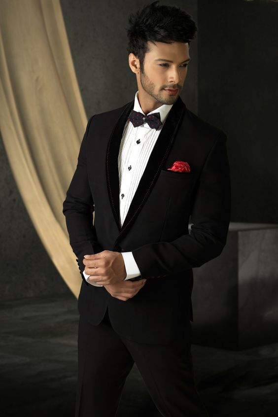 Black colour Designer Men's Suit with shawl lapel for Reception ...