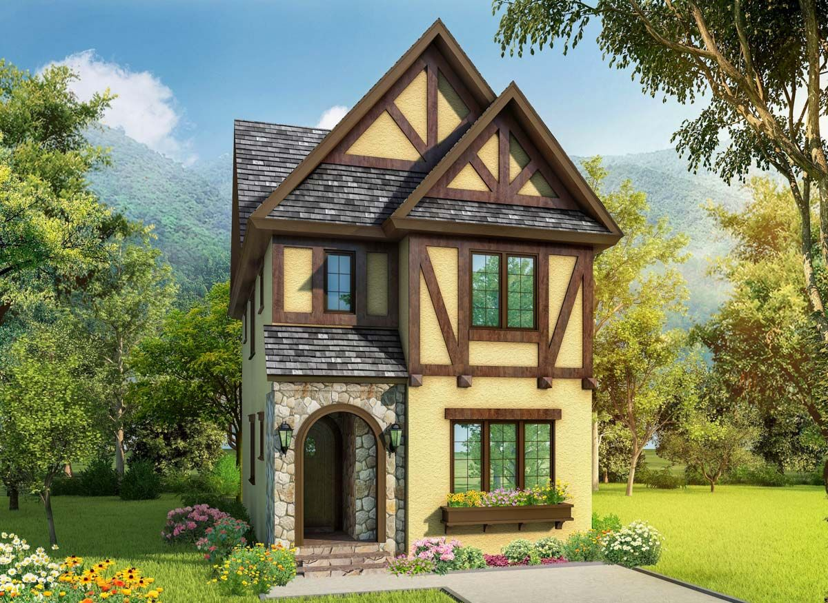 Plan 17814lv Exclusive Narrow Lot Tudor House Plan In 2021 Tudor House Exterior Tudor House Narrow Lot House Plans