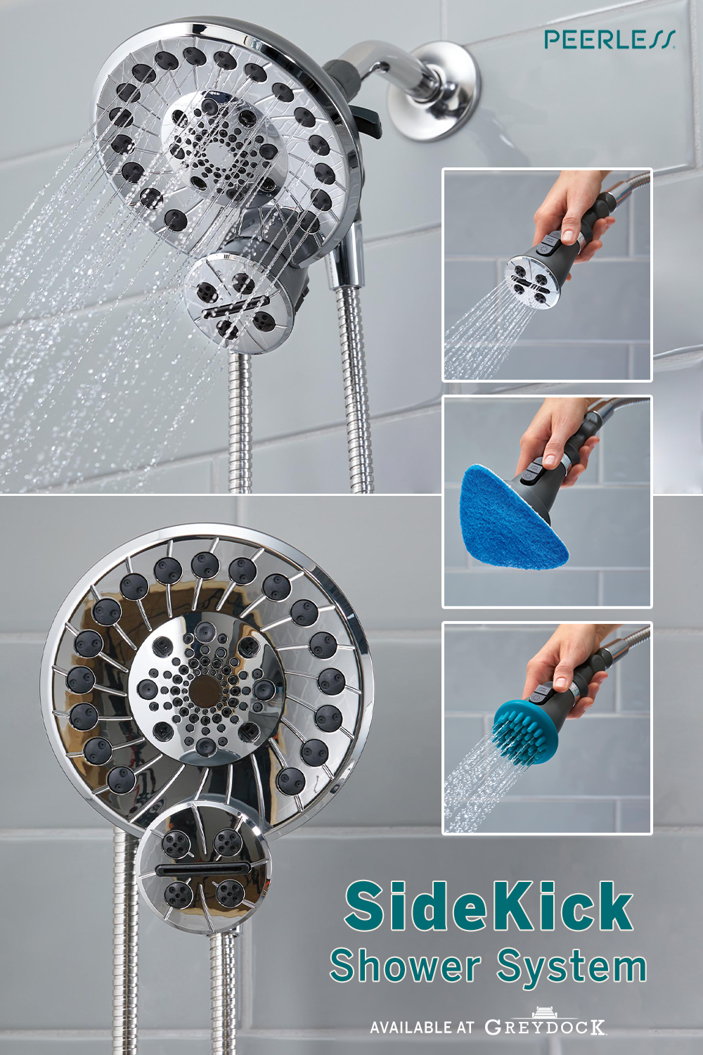 Chrome Peerless 2-in-1 Shower System 5-Spray Dual Showerhead and Handheld Wand