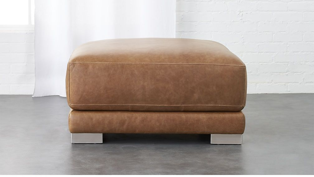Gybson Brown Leather Ottoman Cb2 Brown Leather Ottoman