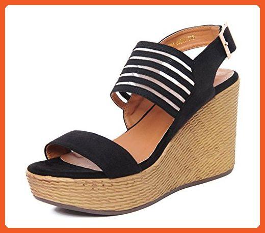 24ce7cc226ca Easemax Women s Trendy Wedges Buckle Peep Toe Low Top Platform Chunky High Heel  Sandals Black 4 B(M) US - Sandals for women ( Amazon Partner-Link)
