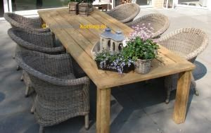 4 Seasons Outdoor Chester Diningset Casa Old Teak Tafel 7-Delig