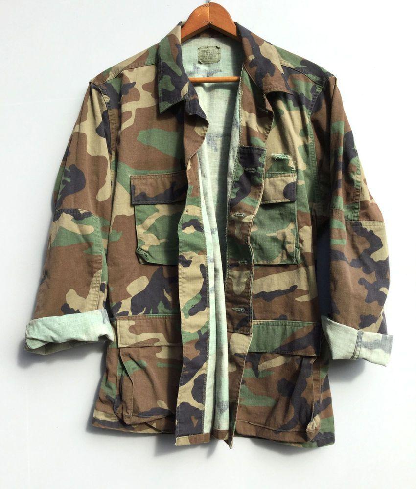 Vintage Mens Distressed Camo Jacket Us Military Shirt