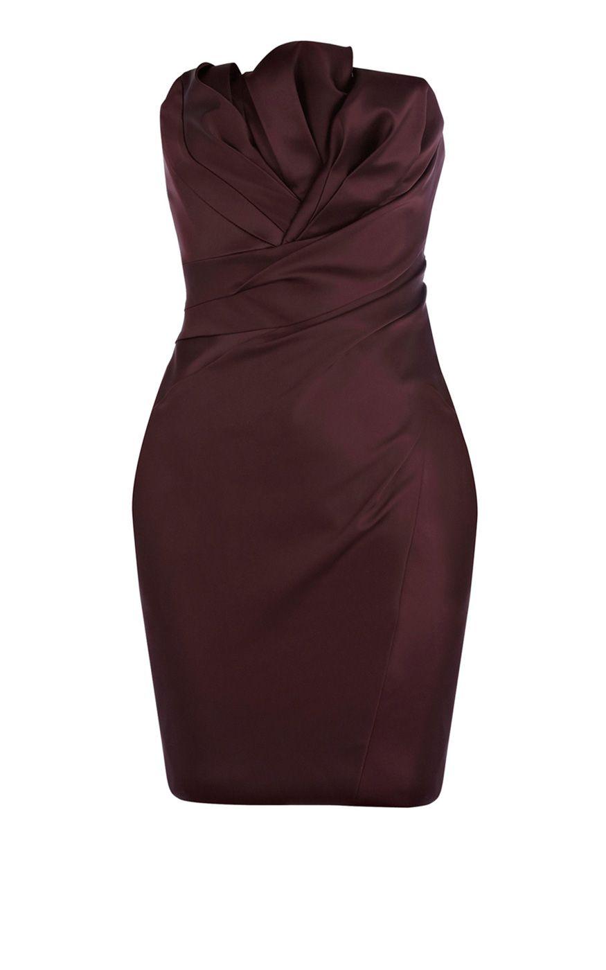 Karen Millen Folded Stretch strapless Dress aubergine ,fashion  Karen Millen Solid Color Dresses outlet