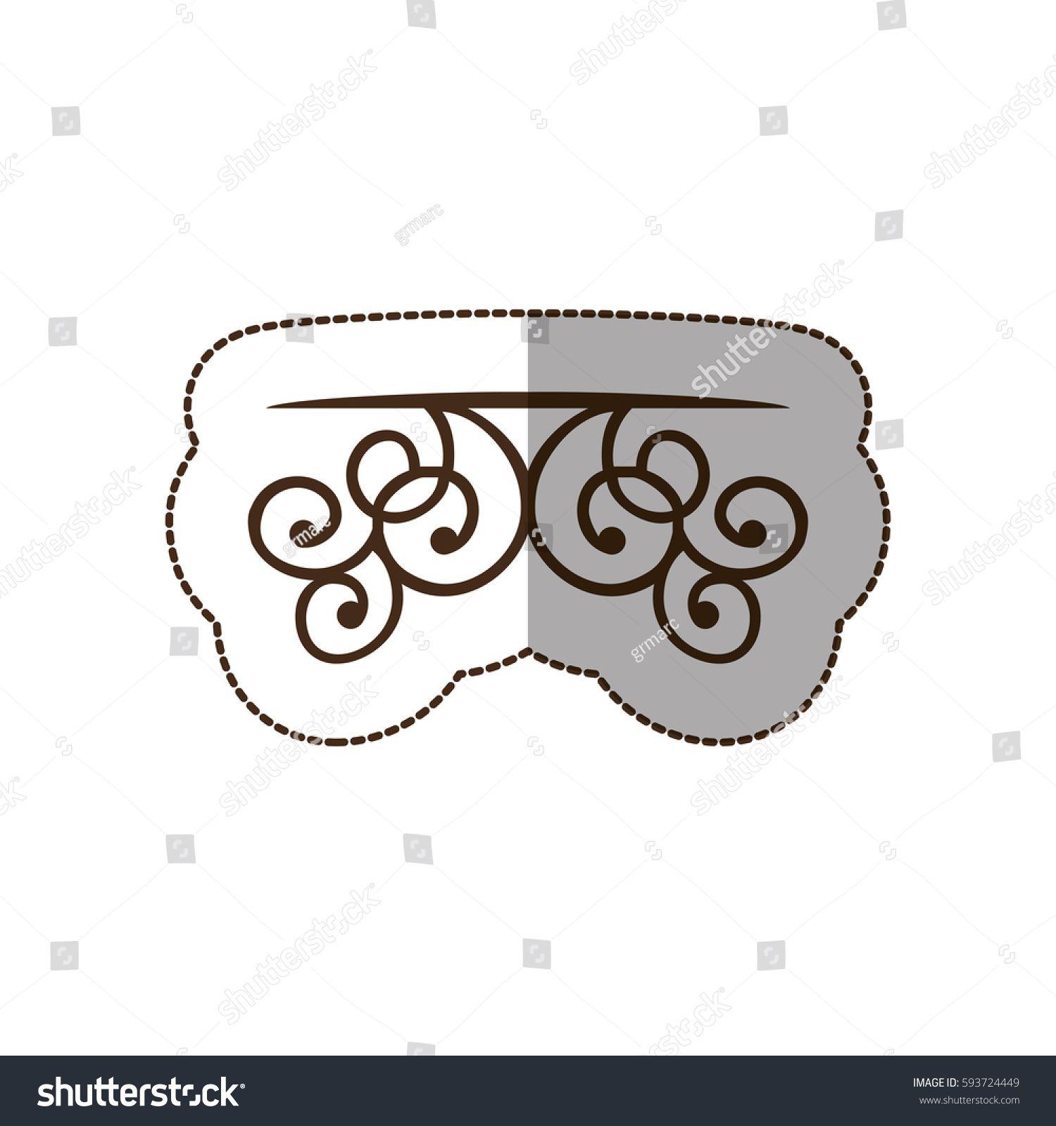 brown decorative swirl shelf icon, vector illustraction