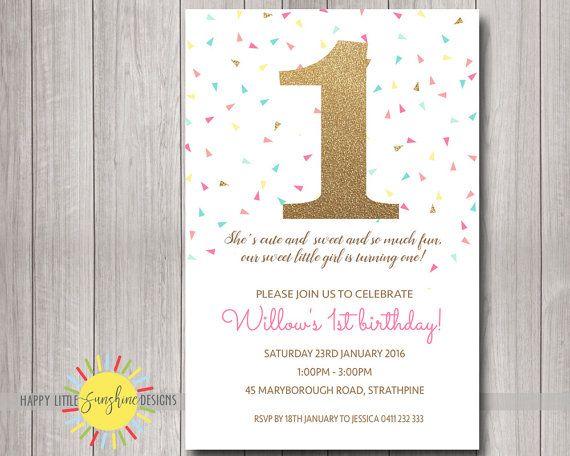 custom printable girl birthday invitation any age 1st birthday