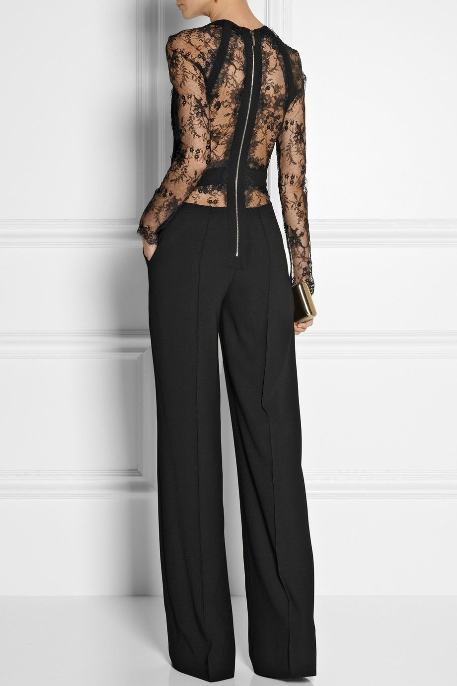 Elie Saab | Paneled lace and crepe jumpsuit | NET-A-PORTER.COM