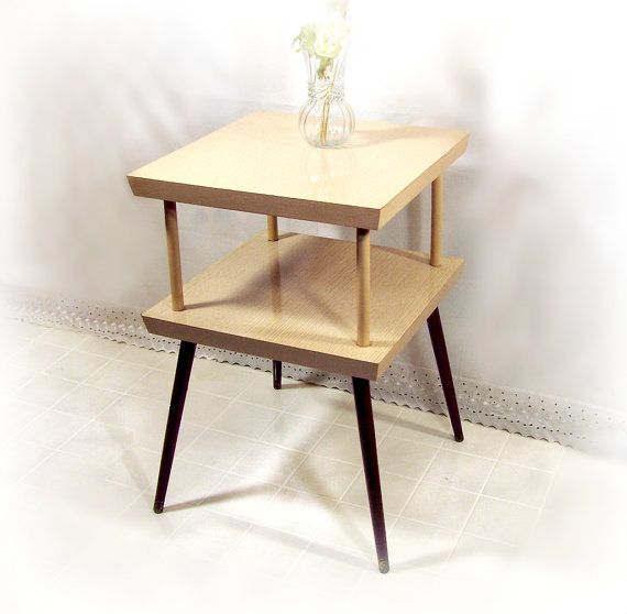 Vintage End Table Retro 60s Mid Century Modern Blonde Wood Formica 2 Tier Side Accent Table Tapered Legs Brass Feet Atomic Eames Nice End Tables Blonde Wood Wood End Tables
