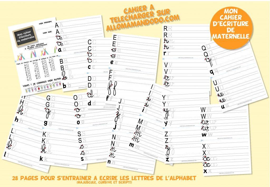 Le cahier d'écriture de maternelle à télécharger ( Gratuit ...