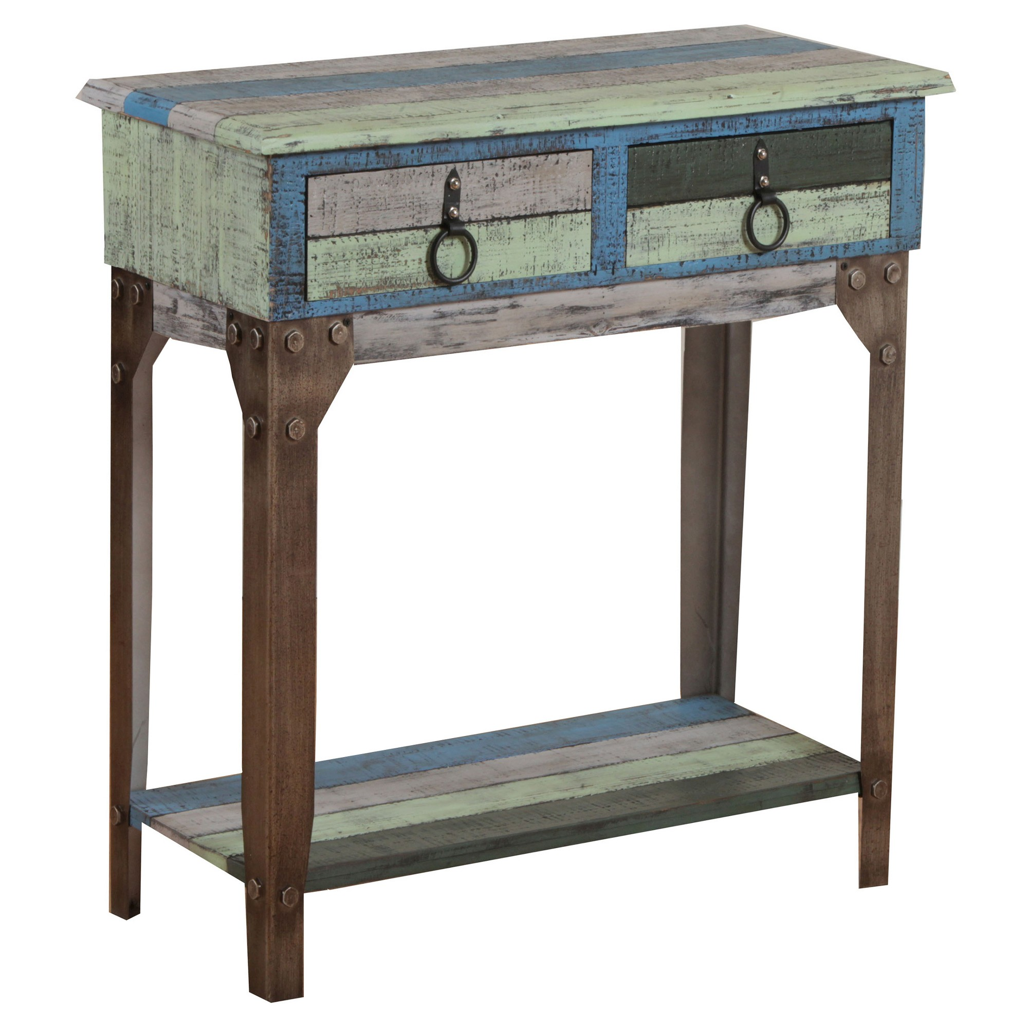 Marley small hall console multi color distressed oak grove collection