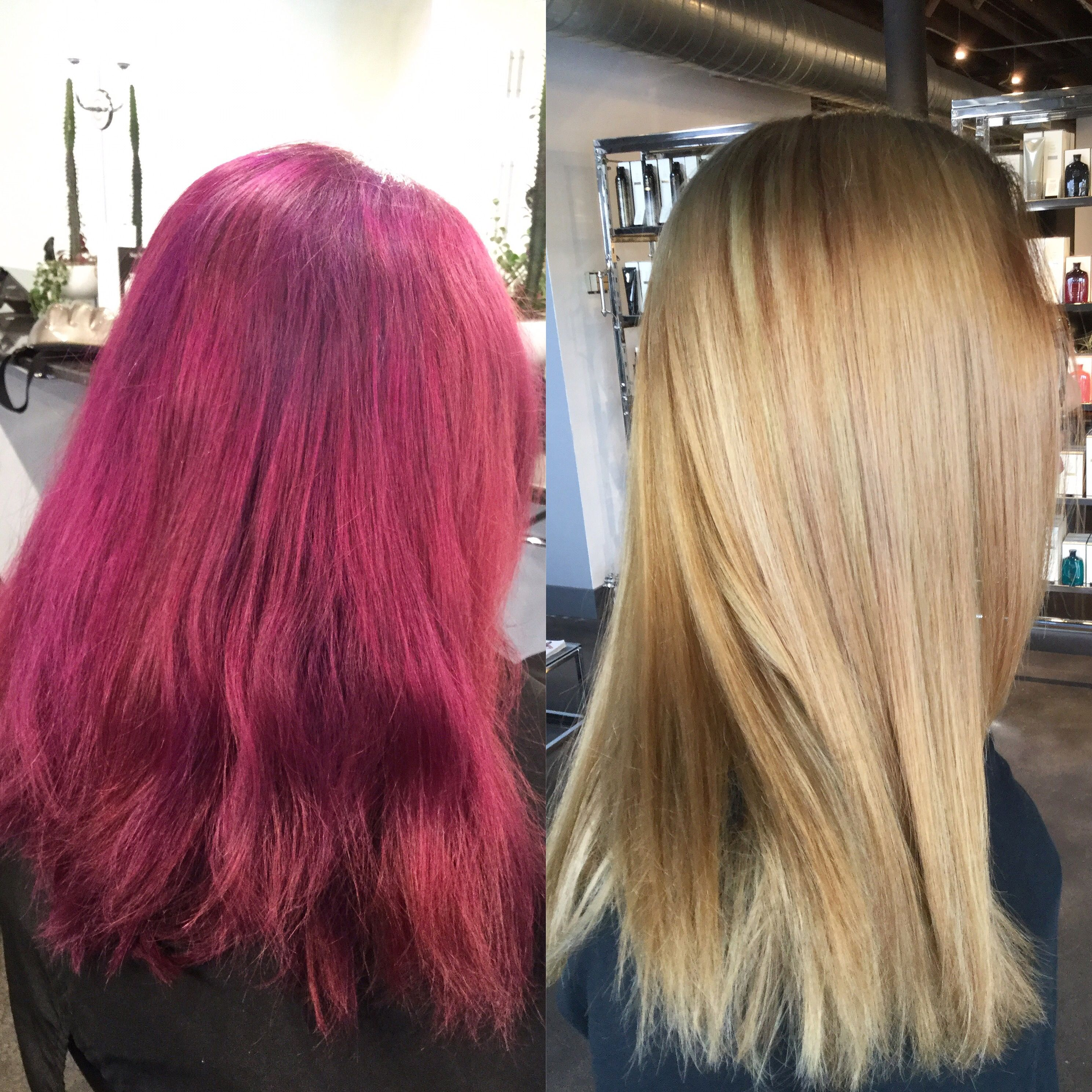 Big Hair Transformation Faded Purple To Honey Blonde Before And After Hair Color Transformation Blonde Hair Transformations Hair Transformation Hair