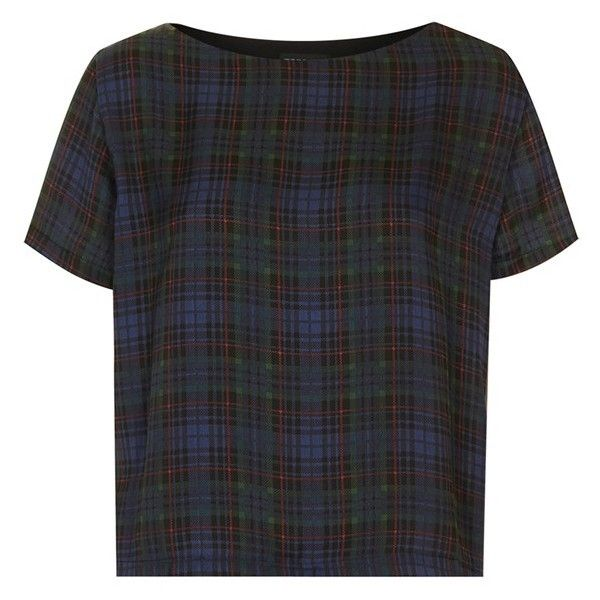Topshop Tartan Plaid Tee ($30) ❤ liked on Polyvore featuring tops, t-shirts, shirts, tees, blouses, woven shirts, boxy shirt, boxy tee, topshop shirts and tartan t shirt