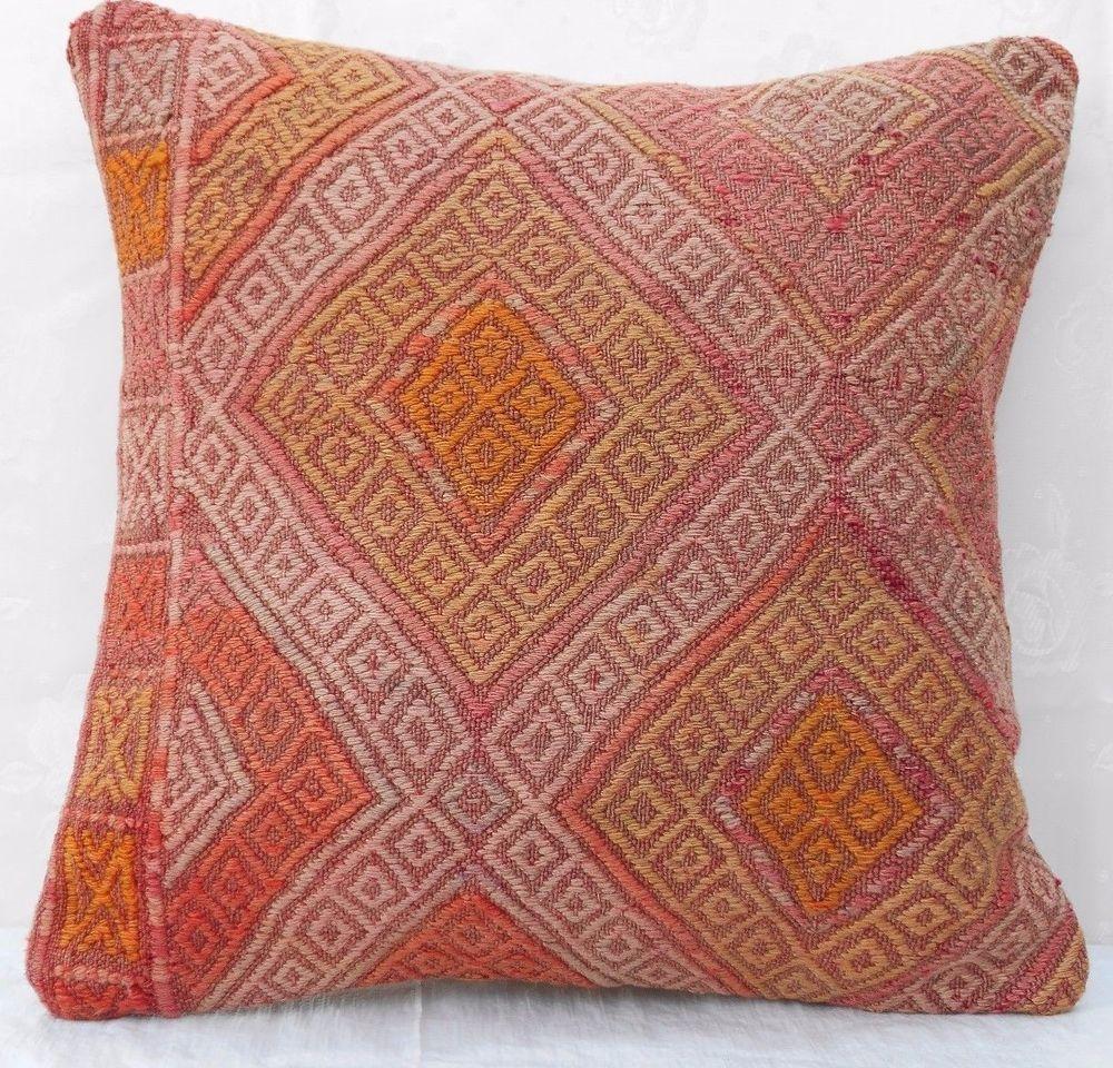 Xuu vintage turkish handmade faded pale color square kilim rug