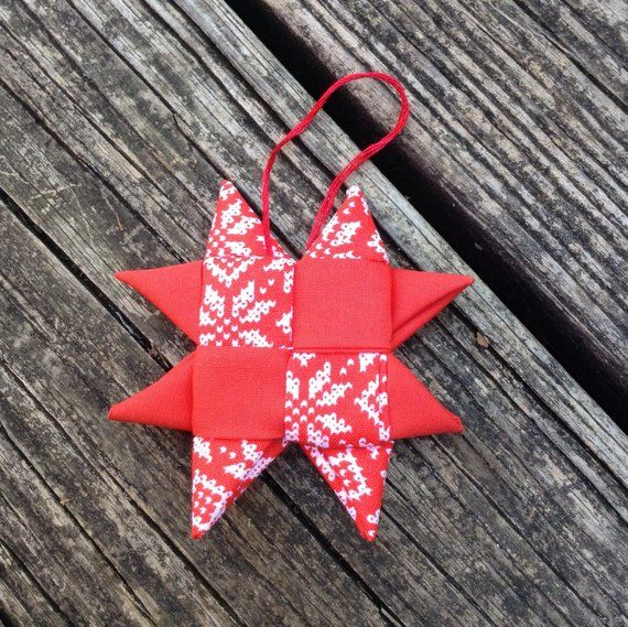Fabric Star Ornament Christmas Fabric Star Decoration Etsy Fabric Origami Fabric Stars Christmas Fabric