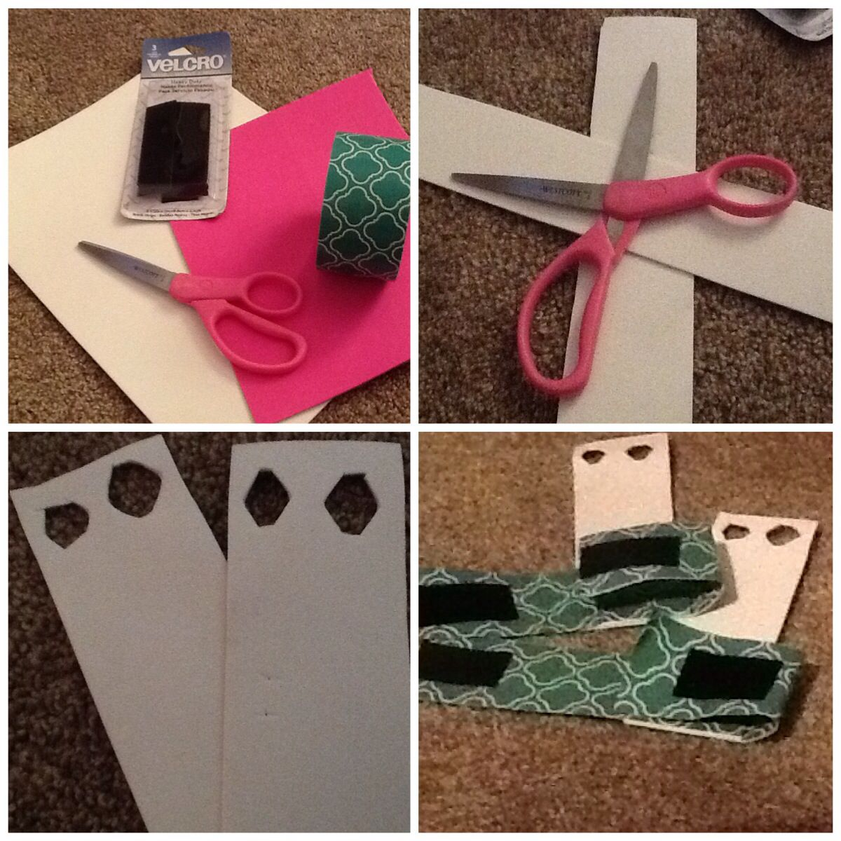 4ce0a2f5da82 DIY gymnastics grips What you need: 1.foam paper 2.scissors 3.velcro strips  4.duck tape Steps 1-4 1.cut foam paper in two strips 2.cut two holes at the  top ...