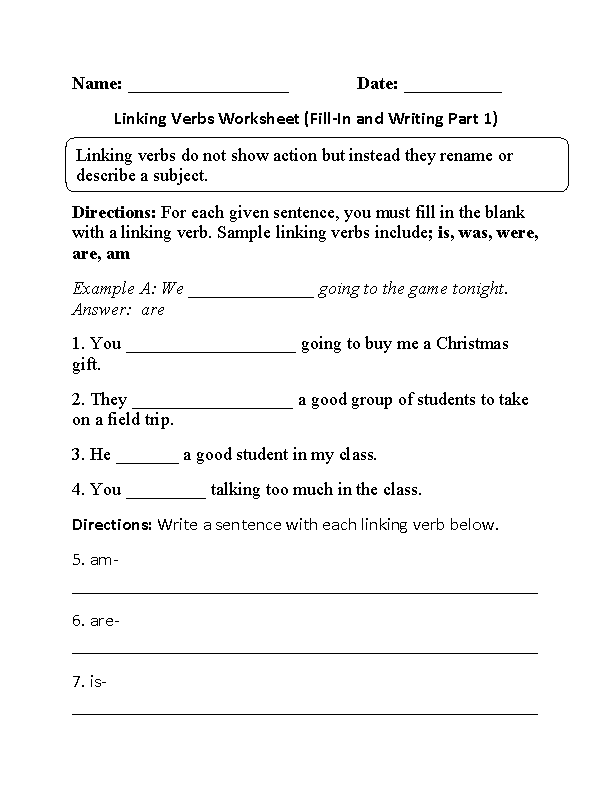 Fill-In And Writing Linking Verbs Worksheet Linking Verbs, Linking Verbs  Worksheet, Verb Worksheets