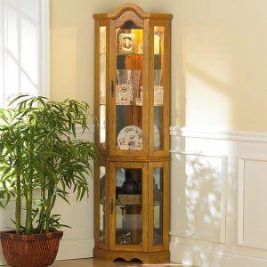 Lighted Corner Curio Cabinet Golden Oak