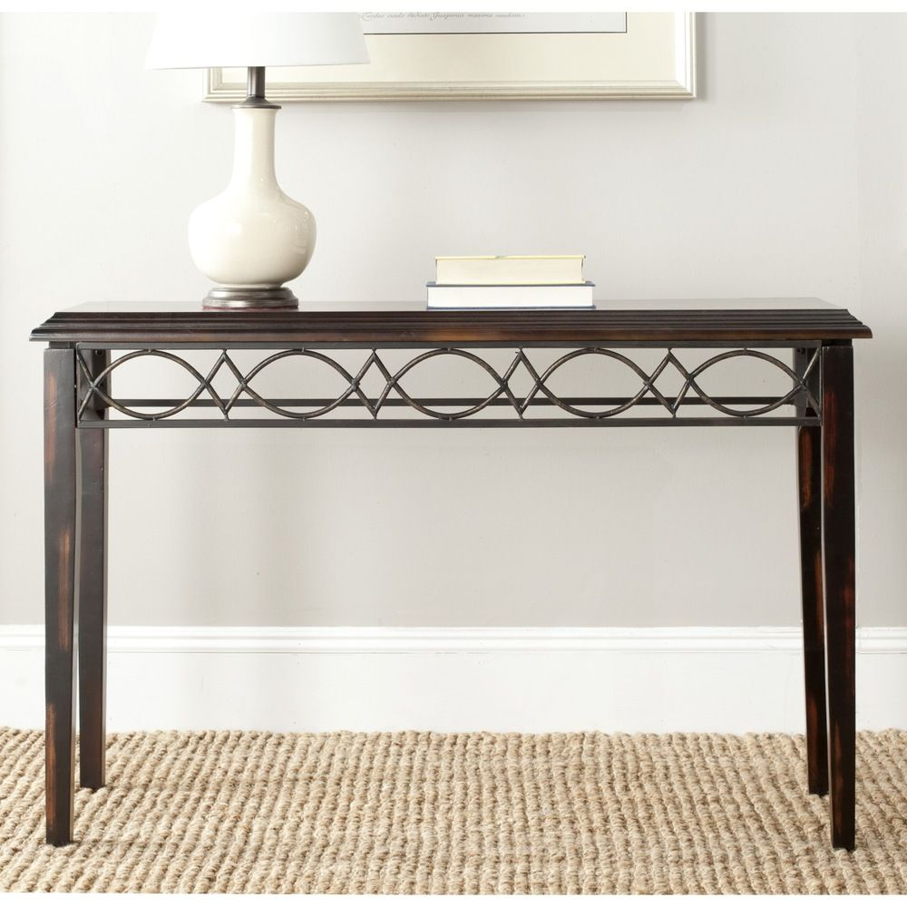 Safavieh jacquelyn dark brown console table by safavieh sofa end safavieh jacquelyn dark brown console table overstock shopping great deals on safavieh coffee sofa end tables geotapseo Images