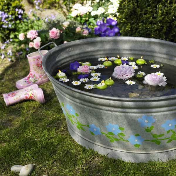 Wasser-Deko Geburtstag 19 Pinterest Wasser, Zinkwanne und Deko - gartenanlagen mit wasser