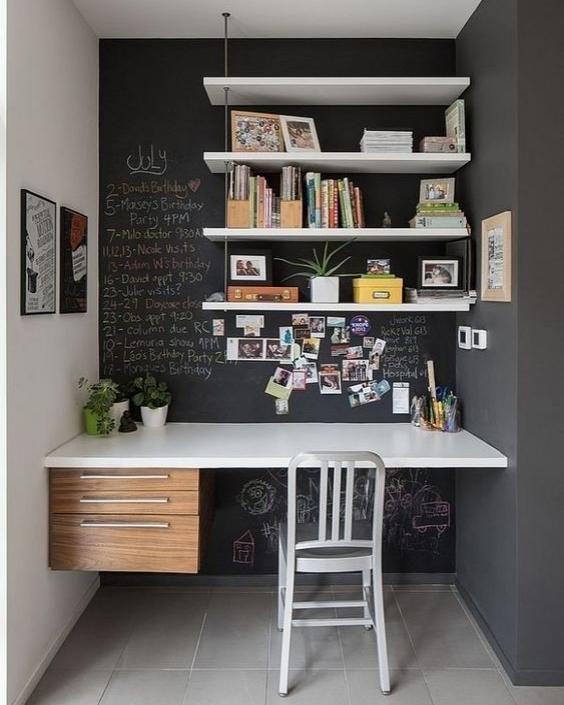 Espaço de estudo e trabalho: pequeno mas muito inspirador, não é? #vinopinterest
