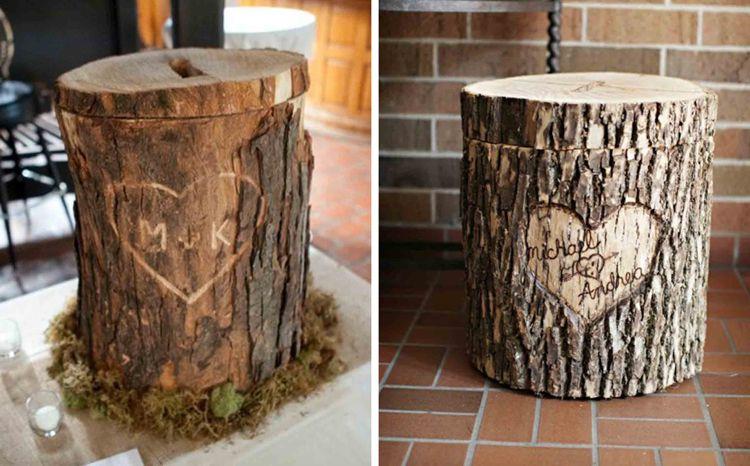 Spardose Basteln Hochzeit Baumstamm Naturmaterialien Romantisch Idee