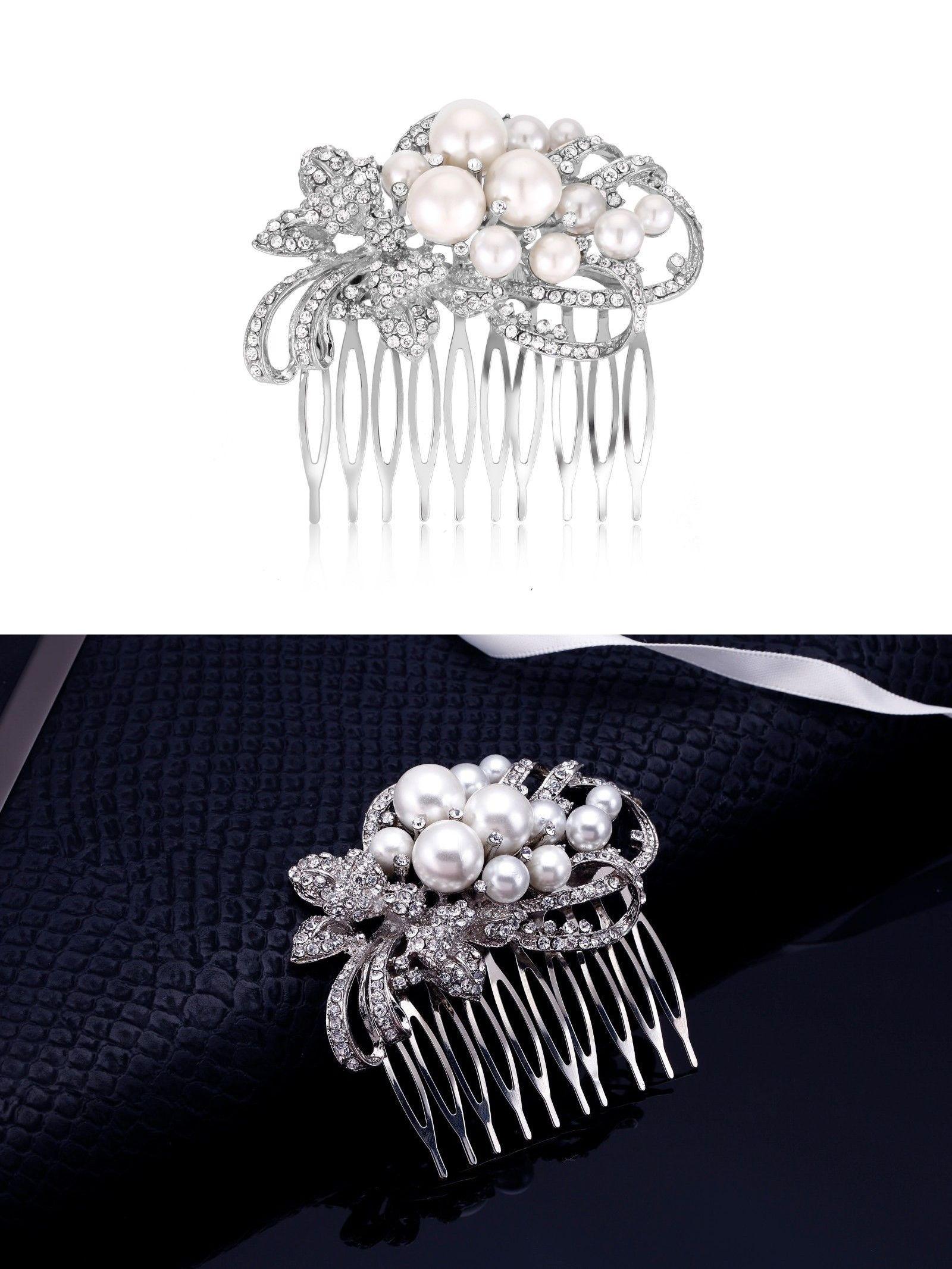 hair accessories 163560: pearl comb, rhinestone comb, bridal comb