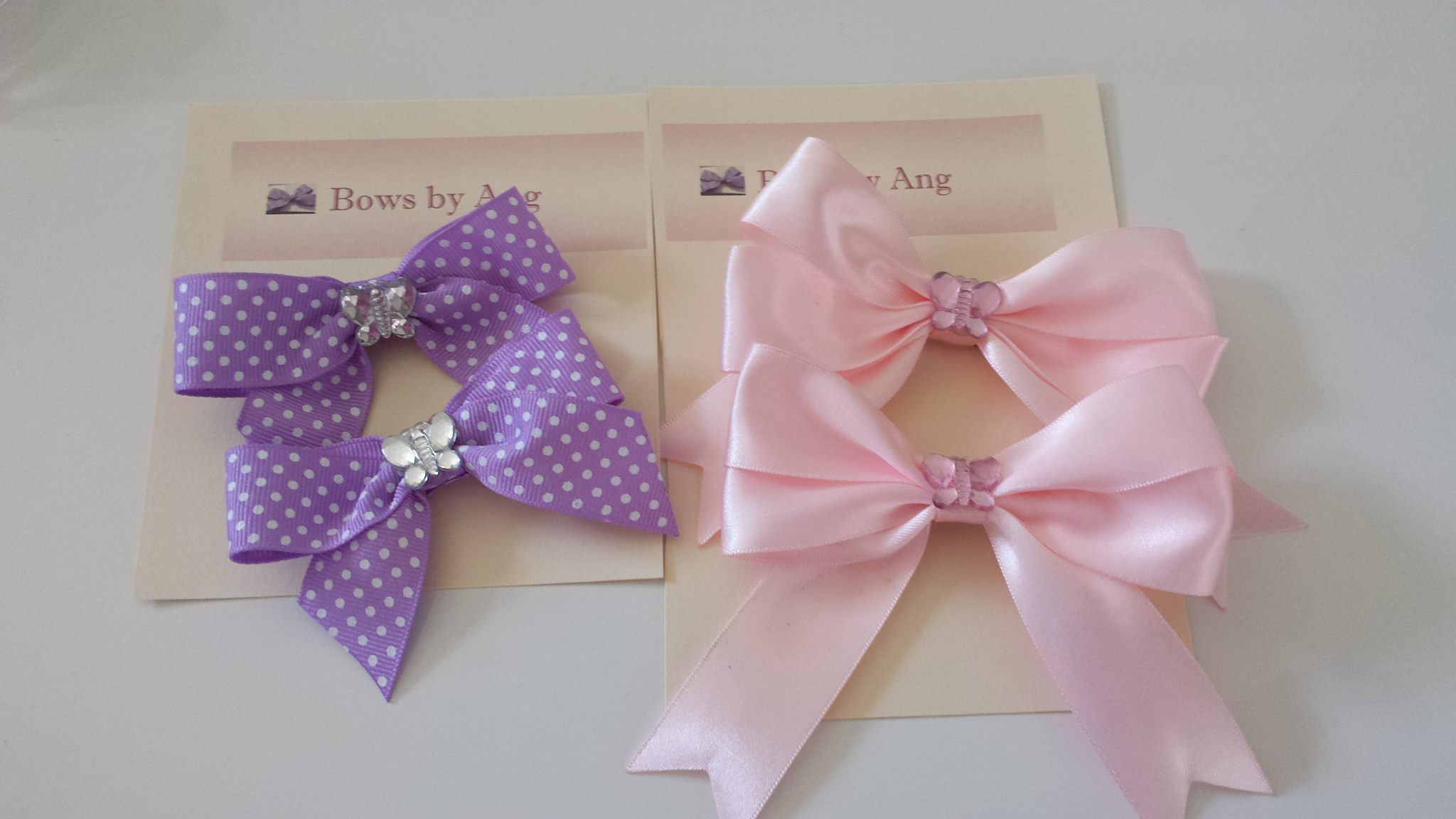 gorgeous little bows purple polka dot and pink with butterfly accessories