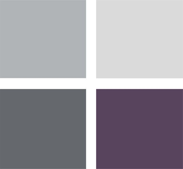 peaceful plum, relaxing black and many shades of gray show an