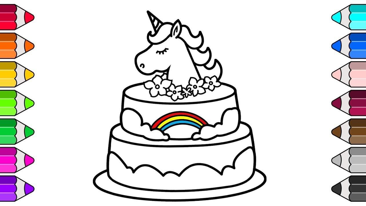 Unicorn cake coloring pages coloring