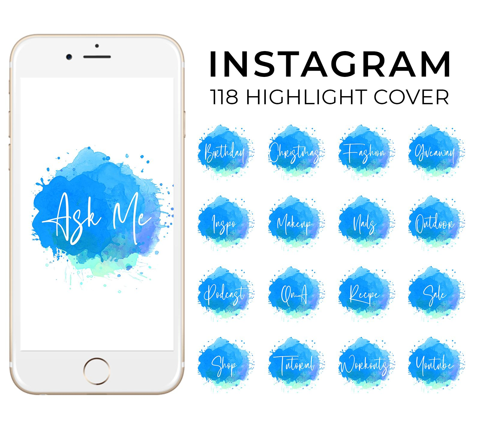 118 Instagram Story Highlight Covers Watercolor