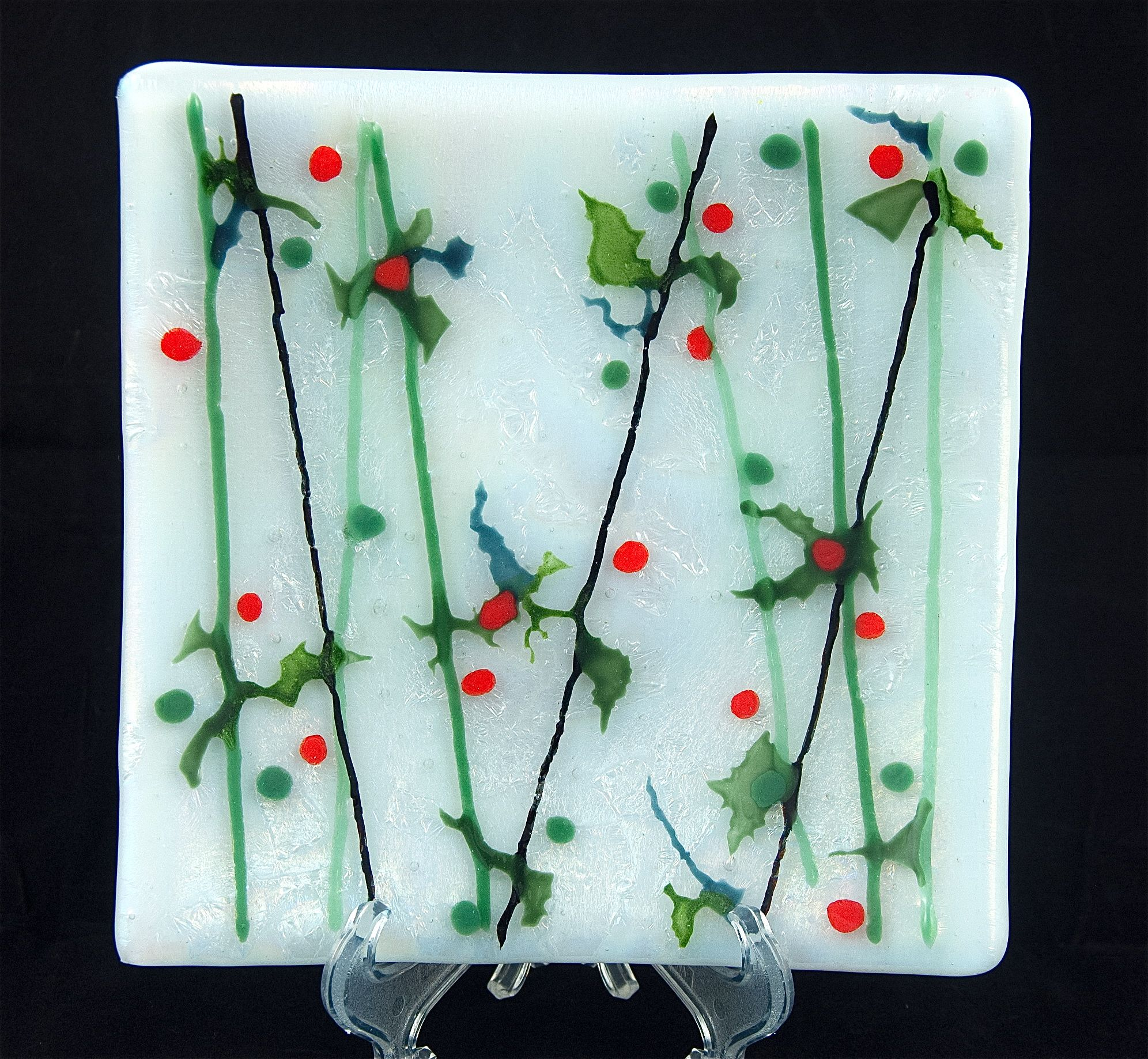 Bamboo Holly Iridescent Medium Square Fused Glass Plate   Anneu0027s Dreams In  Glass