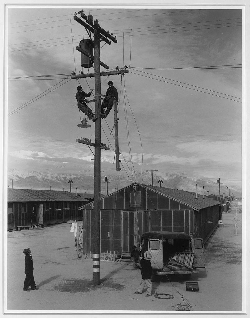 Line crew at work in Manzanar, Manzanar Relocation Center, Manzanar ...