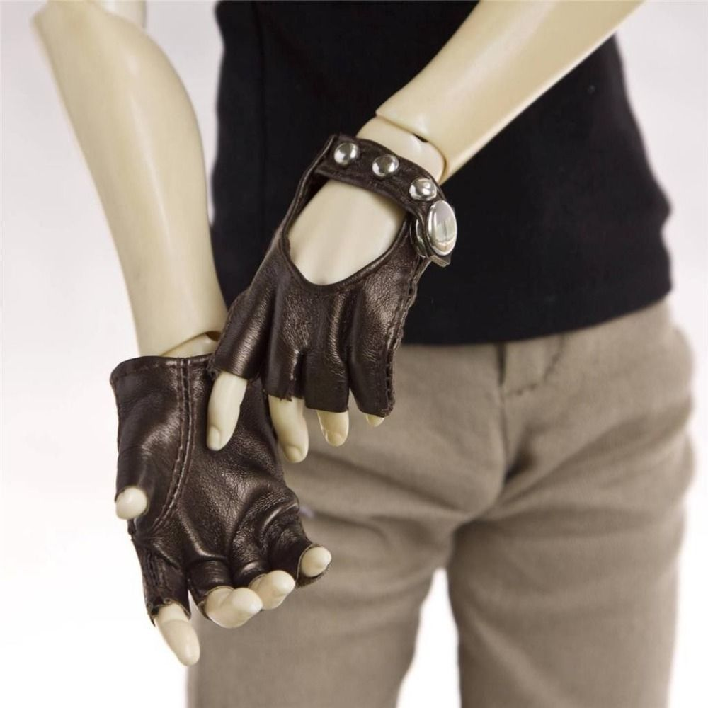 [wamami] Brown Synthetic Leather Locomotive Short Gloves SD17 DZ70 AOD LUTS BJD Dollfie