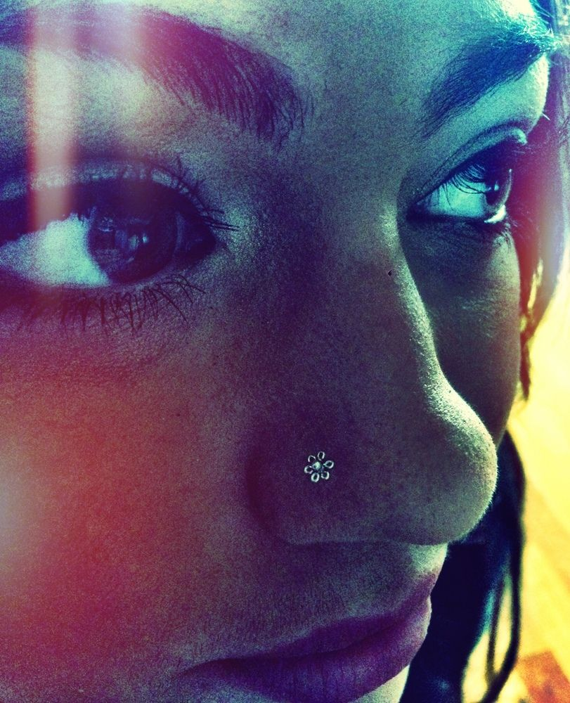 Nose piercing ring vs stud  silver daisy nose stud b o h o c h i c  To be or not to be