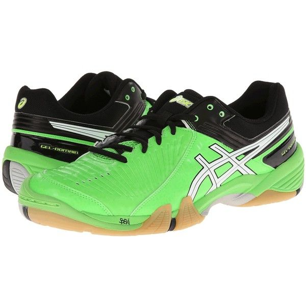 ASICS GEL-Domain 3 (Neon Green/White/Black) Men's Volleyball Shoes ($70) ❤  liked on Polyvore featuring men's fashion, men's shoes, green, mens  breathable ...